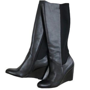 Nine West Black Leather Tall Wedge Boots